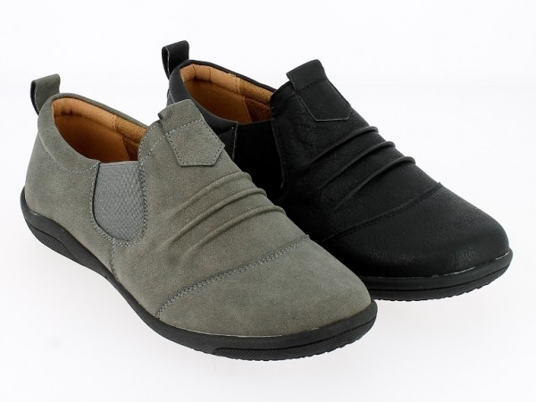 .Da.-Schuh, Slipper, TPR-Sohle, 2 x Gummizug, PU, schwarz