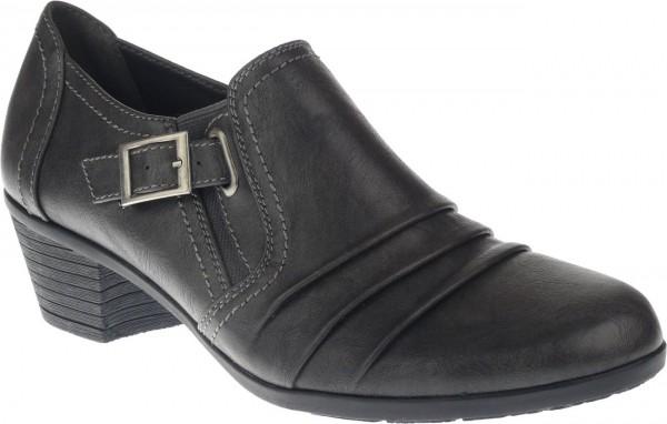 .Da.-Schuh, TPR-Sohle, 2 x Gummizug, seitl. Schnalle, kl. Absatz, PU, grau