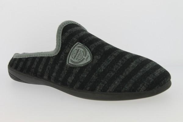 .He.-Pantoffel, TR, Textil, PU-Sohle, gestreift, blau-schwarz-grau