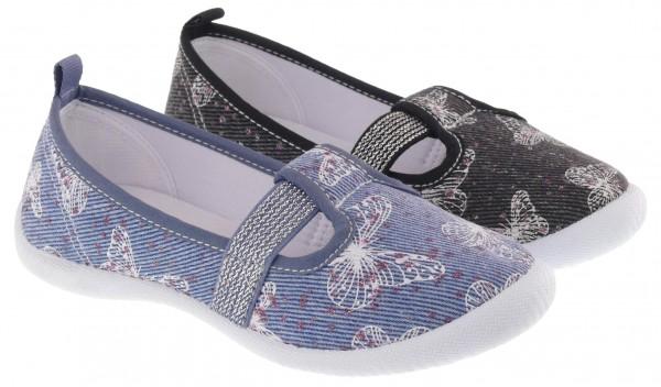 .Ki.-Freizeitschuh, PVC-Sohle, mit Schmetterlingen, breiter Gummizug, Jeansstoff, blau+schwarz