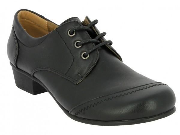 .Da.-Schuh, Schnürer, TPR-Sohle, kl. Absatz, Ziernähte, PU, schwarz