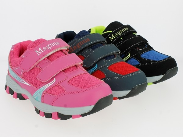 Ki.- Sportschuh, EVA-Sohle, 2x Klett, PU + Mesh, pink + schwarz-blau + grau-rot