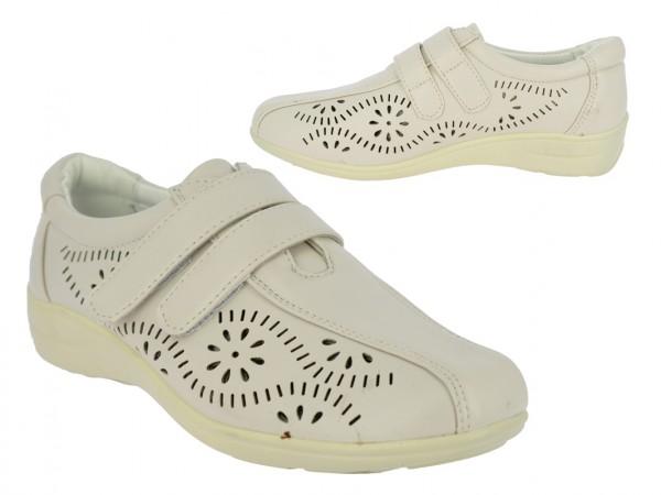 .Da.-Schuh, PU, Lochmuster, 2 x Klett, PU-Sohle, beige
