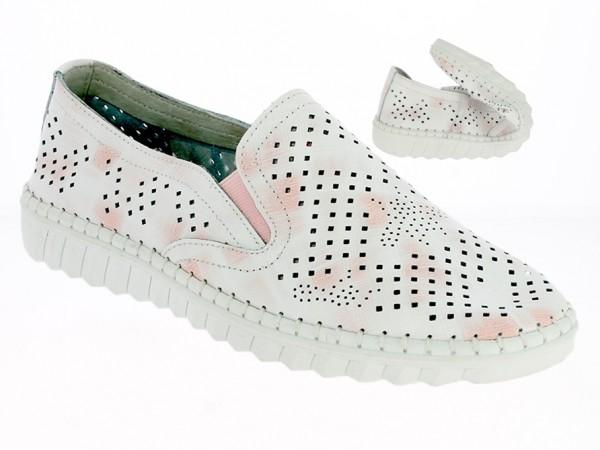 .Da.-Schuh, Gummi-Sohle, Slipper, 2x Gummizug, Lederinnenausst., Leder, weiß-pink