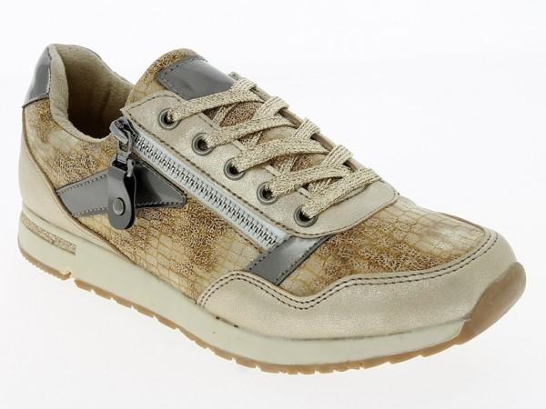 .Da.-Schuh, EVA-Sohle, Schnürer, seitl. Reißverschl., gold