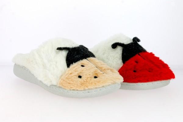""".Da.-Pantoffel, weiße TPR-Sohle, """"m. Marienkäfer"""", leicht gefüttert, Textil, weiß-beige + weiß-rot"""