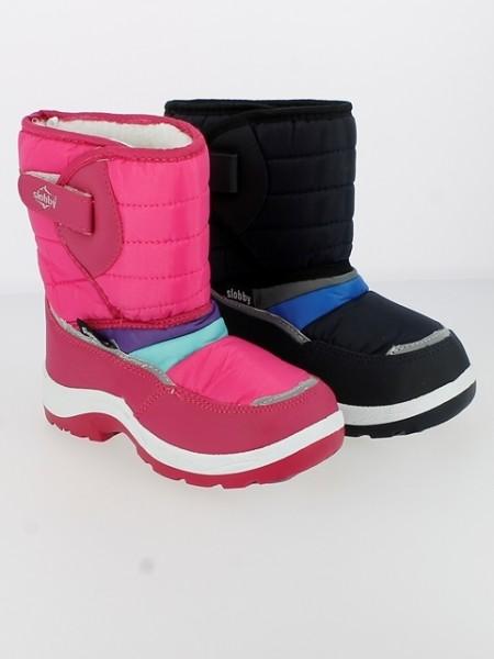 Ki.-Stiefel, PVC-Sohle, 1 x Klettverschluss, Nylon, Warmfutter, m. Reflektoren, pink + schwarz