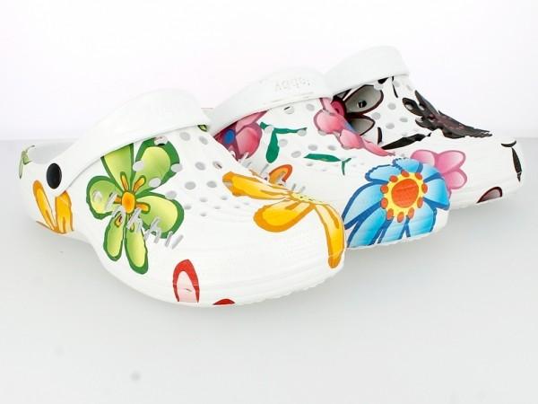 .Da.-EVA Clogs, SLOBBY, mit Riemen, weiß mit bunten Blumen bedruckt