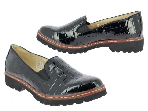 .Da.-Schuh, Slipper, TPR-Sohle, 2 x Gummizug, Krokooptik, Lack-PU, schwarz