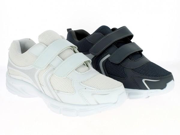 .He.-Sportschuh, weiße EVA-Sohle, 2x Klett, PU+Mesh, weiß+grau