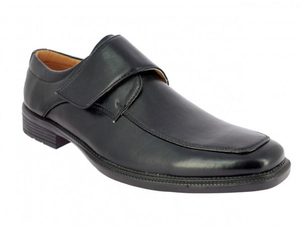 .He.- Schuh, Slipper, PVC-Sohle, Klettverschluss, PU, schwarz