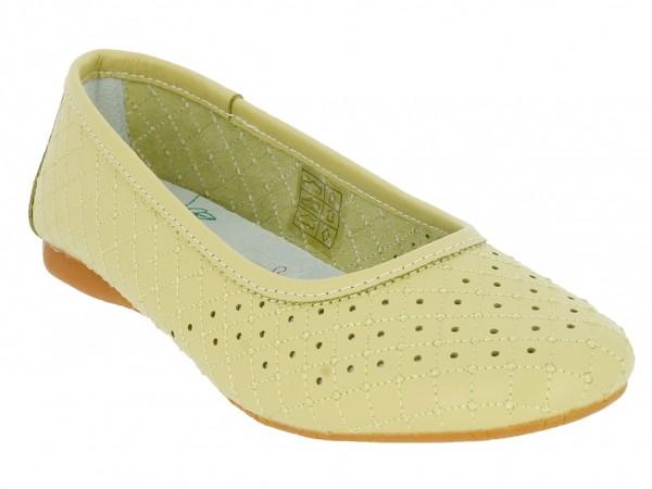 .Da.-Schuh, Leder, Slipper, Lederinnensohle, Lochmuster, Rubber-Sohle, grün