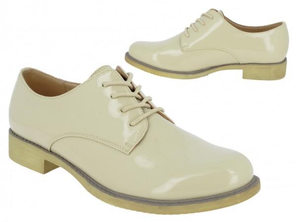 .Da.-Schuh, Lack-PU, Schnürer, TPR-Sohle, beige