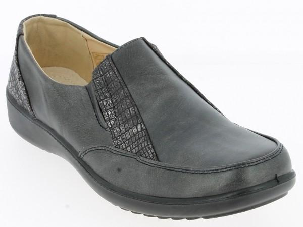 Da.-Schuh, Slipper, PU-Sohle, 2 kl. Gummizüge., PU, Lederinnensohle, Krokooptik, neue Keilsohle, sch