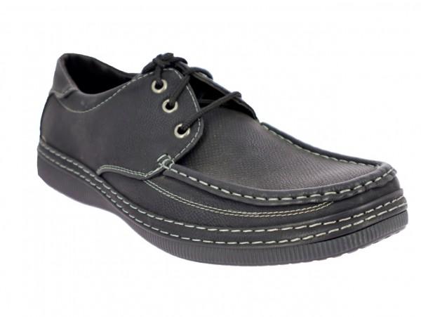 .He-Schuh, Schnürer, PU, Ziernähte, TPR-Sohle, schwarz