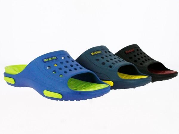 .He.-Badepantolette, EVA, 1 Bandage, blau-grün + navy-gelb + schwarz-bordeaux