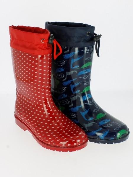 .Ki.-Regenstiefel, PVC-Sohle, Warmfutter, Band zum Verstellen, PVC, navy mit Dinos + rot gepunktet