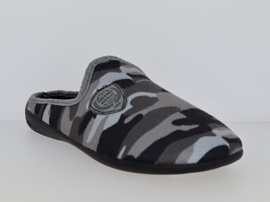.He.-Pantoffel, TR, Textil, mit Emblem, PU-Sohle, grau-schwarz