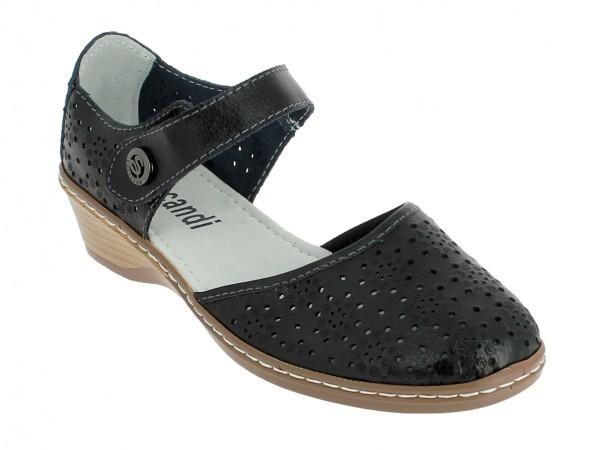 .Da.-Sandalette, Leder, vorn zu, Riemen mit Klett und Zierknopf, Lochmuster, PU-Sohle, schwarz