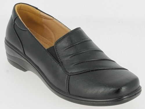 .Da.-Schuh, PU-Sohle, Slipper, 2 x Gummizug, Lederinnensohle, PU, schwarz