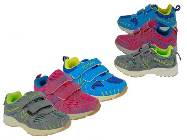 .Ki.-Sportschuh, TPR-Sohle, 2 x Klett, PU + Mesh, pink-blau + blau-gelb + khaki-grün