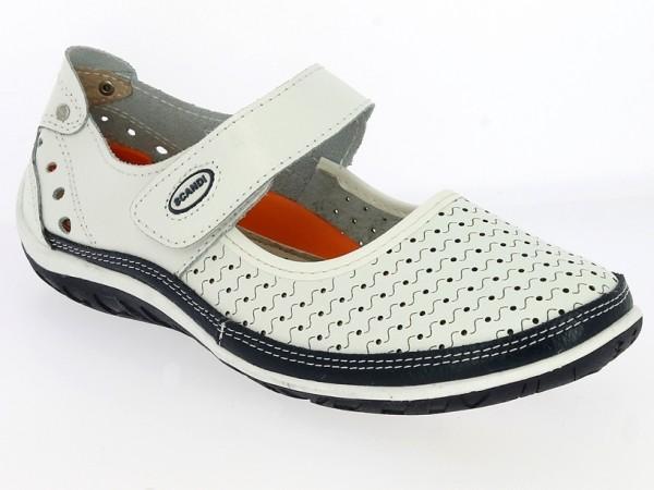 .Da.-Schuh, TPR-Sohle, Riemen m. Klettverschluss, Leder, Lederinnensohle, gelocht, weiß