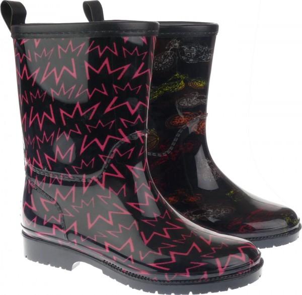 Ki.-Regenstiefel, PVC-Sohle, gefüttert, , PVC+PU, schwarz mit. Motorrädern + schwarz mit pinken Zac