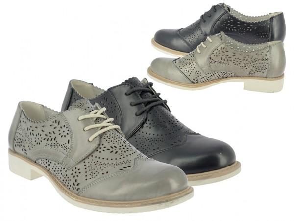.Da.-Schuh, PU, Schnürer, Zierlöcher, -nähte, TPR-Sohle, schwarz+grau