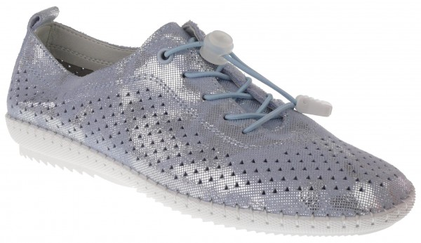 .Da.-Schuh, Gummi-Sohle, Elastikschnürung, Lederinnensohle, mit Löchern, bedruckt, Leder, h.blau-sil