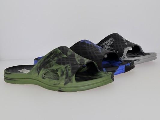 .He.-Badepantolette, EVA, 1 Bandage, schwarz-khaki + schwarz-blau + schwarz-grau