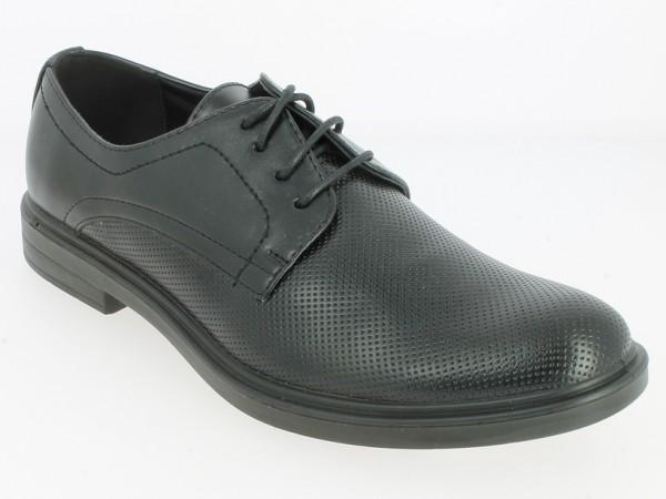 .He.-Schuh, PU-Sohle, Schnürer, PU, Lederinnensohle, gestanztes Muster vorn, schwarz