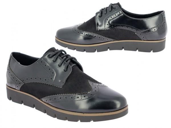 .Da.-Schuh, PU-Sohle, Schnürer, mit Textileinsatz, Lack-PU, schwarz