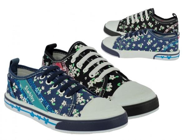 .Ki.-Leinenschuh, bek. Elastikband, PVC-Sohle, gemustert, navy-blau + schwarz-pink