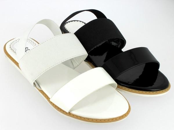 .Da.-Sandalette, Lack-PU, Sling a.Gummizug, TPR-Sohle, schwarz + weiß