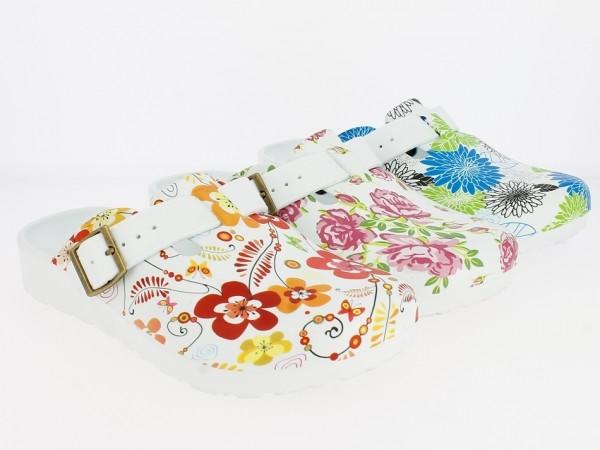 .Da.-EVA Clogs, Riemen mit Schnalle, ohne Löcher, weiß mit verschiedenen Blumen