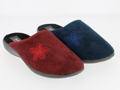 .Da.-Pantoffel, TR, Textil mit Blume, PU-Sohle, bordeaux + navy