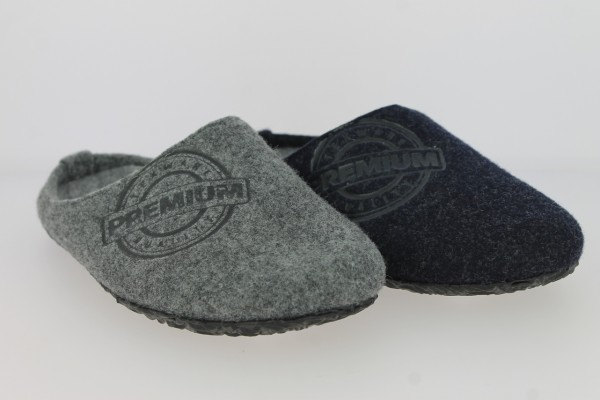 .Da.-Pantoffel, TPR/Gummi-Sohle, Textil, Filz, bedruckt, navy+ dunkelgrau