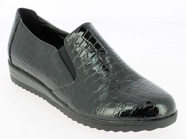 .Da.-Schuh, TPR-Sohle, Slipper, 2 x Gummizug, Lack/PU Krokomuster, schwarz