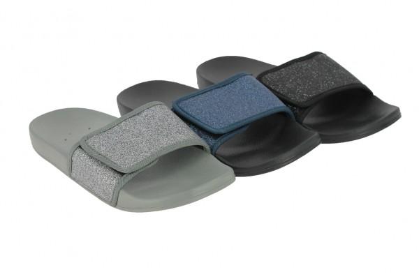 .Da.-Badepantolette, EVA, Bandage mit Klett, Glitzer-PU, grau-navy+schwarz