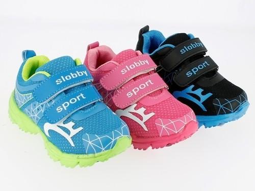 Ki.-Sportschuh, Becker-Logo, PU+Mesh, 2 x Klett, Phylon-Sohle, pink+blau+schwarz