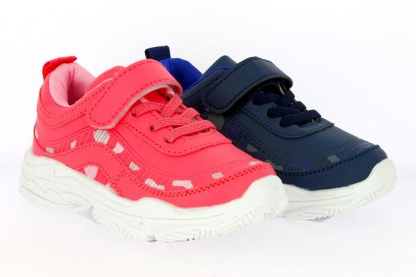 .Ki.-Sportschuh, EVA-Sohle, PU, Klettverschluss, Gummizugschnürung, gemustert, blau+pink