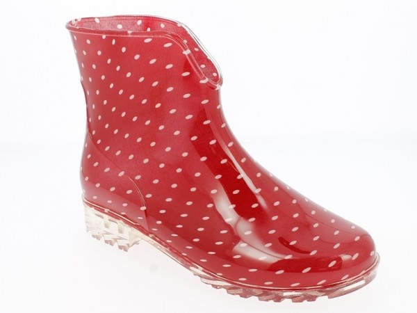 .Da.-Regenstiefelette, PVC, mit weißen Punkten, PVC-Sohle, rot