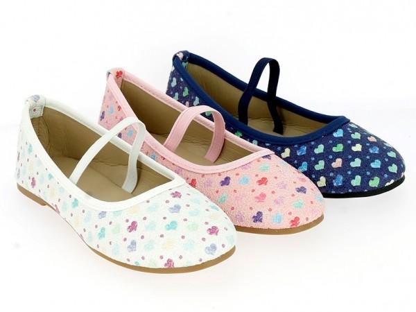 Ki.-Schuh, Ballerina, TPR-Sohle, Gummizug über Spann, Herzmuster. PU, weiß+ rosa+ navy