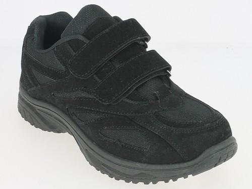 .He.-Sportschuh, PVC-Sohle, 2 x Klett, PU+Mesh, schwarz
