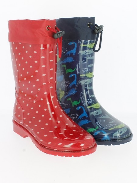 Ki.-Regenstiefel, PVC-Sohle, Band z. feststellen, PVC, navy mit Dinos + rot gepunktet