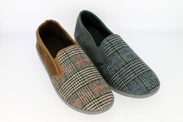 He.-Hausschuh, TPR-Sohle, 2 x Gummizug, Textil, kariert, braun+grau