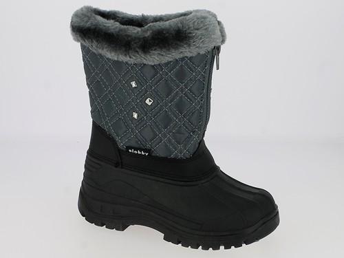 Ki.-Stiefel, Nylon, Reißverschluss mittig vorn, mit Nieten, Warmfutter, TPR-Galosche, grau