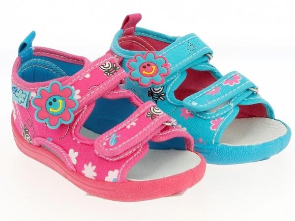 Ki.-Sandalette, PVC-Sohle, 2 x Klett, Lederinnensohle, Textil m. Aufdruck, blau + fuchsia