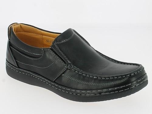 .He-Schuh, Slipper, Glatt-PU, 2 x Gummizug, seitl. Zierstreifen, schwarz