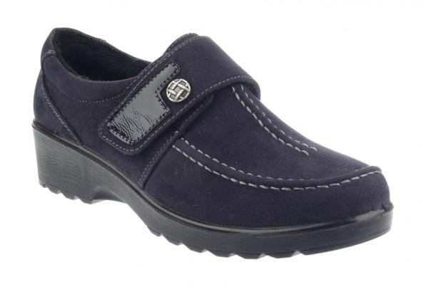 .Da.-Schuh, PU-Sohle, Klettverschluss mit Knopf und Lack, Wulstnaht, Warmfutter, Rau-PU, navy